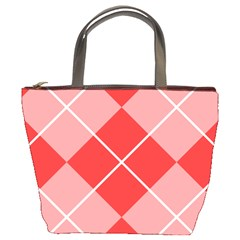 Plaid Triangle Line Wave Chevron Red White Beauty Argyle Bucket Bags by Alisyart