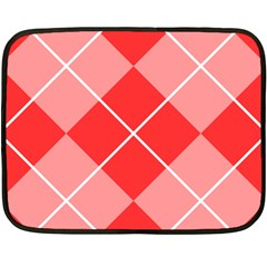 Plaid Triangle Line Wave Chevron Red White Beauty Argyle Fleece Blanket (mini) by Alisyart