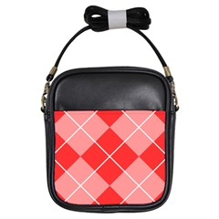 Plaid Triangle Line Wave Chevron Red White Beauty Argyle Girls Sling Bags