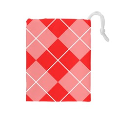 Plaid Triangle Line Wave Chevron Red White Beauty Argyle Drawstring Pouches (large)  by Alisyart