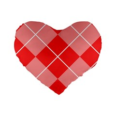 Plaid Triangle Line Wave Chevron Red White Beauty Argyle Standard 16  Premium Flano Heart Shape Cushions by Alisyart