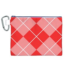 Plaid Triangle Line Wave Chevron Red White Beauty Argyle Canvas Cosmetic Bag (xl) by Alisyart