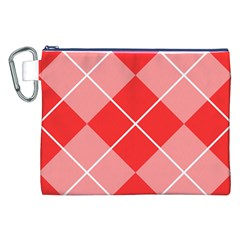 Plaid Triangle Line Wave Chevron Red White Beauty Argyle Canvas Cosmetic Bag (xxl) by Alisyart