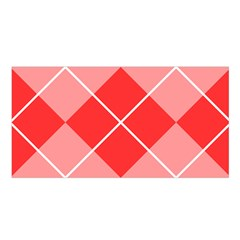 Plaid Triangle Line Wave Chevron Red White Beauty Argyle Satin Shawl by Alisyart