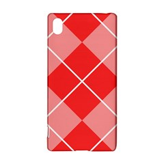 Plaid Triangle Line Wave Chevron Red White Beauty Argyle Sony Xperia Z3+ by Alisyart