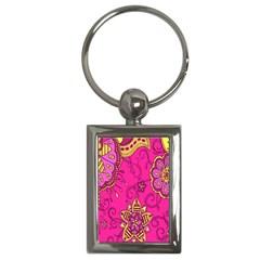 Pink Lemonade Flower Floral Rose Sunflower Leaf Star Pink Key Chains (rectangle)  by Alisyart