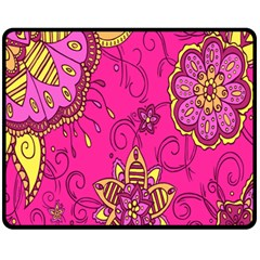 Pink Lemonade Flower Floral Rose Sunflower Leaf Star Pink Fleece Blanket (medium)  by Alisyart