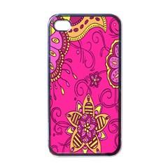 Pink Lemonade Flower Floral Rose Sunflower Leaf Star Pink Apple Iphone 4 Case (black) by Alisyart