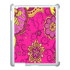 Pink Lemonade Flower Floral Rose Sunflower Leaf Star Pink Apple Ipad 3/4 Case (white) by Alisyart