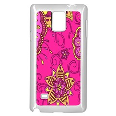 Pink Lemonade Flower Floral Rose Sunflower Leaf Star Pink Samsung Galaxy Note 4 Case (white) by Alisyart