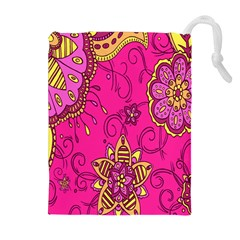 Pink Lemonade Flower Floral Rose Sunflower Leaf Star Pink Drawstring Pouches (extra Large) by Alisyart
