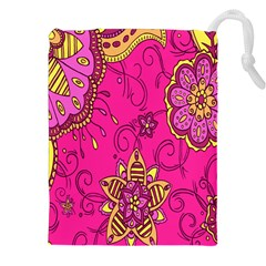 Pink Lemonade Flower Floral Rose Sunflower Leaf Star Pink Drawstring Pouches (xxl) by Alisyart