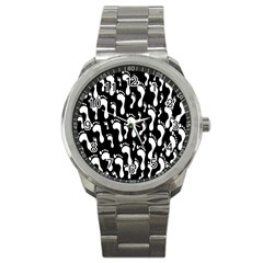 Population Soles Feet Foot Black White Sport Metal Watch by Alisyart