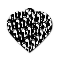 Population Soles Feet Foot Black White Dog Tag Heart (one Side) by Alisyart