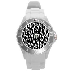Population Soles Feet Foot Black White Round Plastic Sport Watch (l) by Alisyart