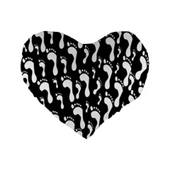 Population Soles Feet Foot Black White Standard 16  Premium Flano Heart Shape Cushions by Alisyart