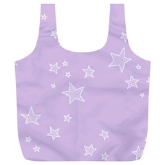Star Lavender Purple Space Full Print Recycle Bags (l)  by Alisyart