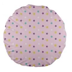 Star Rainbow Coror Purple Gold White Blue Large 18  Premium Flano Round Cushions by Alisyart
