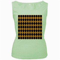 Plaid Triangle Line Wave Chevron Yellow Red Blue Orange Black Beauty Argyle Women s Green Tank Top by Alisyart
