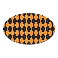 Plaid Triangle Line Wave Chevron Yellow Red Blue Orange Black Beauty Argyle Oval Magnet by Alisyart