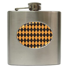 Plaid Triangle Line Wave Chevron Yellow Red Blue Orange Black Beauty Argyle Hip Flask (6 Oz) by Alisyart
