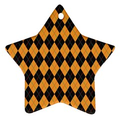 Plaid Triangle Line Wave Chevron Yellow Red Blue Orange Black Beauty Argyle Star Ornament (two Sides) by Alisyart
