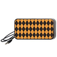 Plaid Triangle Line Wave Chevron Yellow Red Blue Orange Black Beauty Argyle Portable Speaker (black) by Alisyart