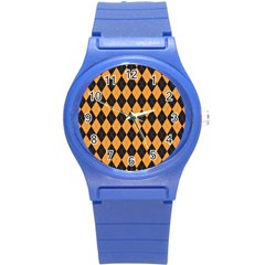 Plaid Triangle Line Wave Chevron Yellow Red Blue Orange Black Beauty Argyle Round Plastic Sport Watch (s) by Alisyart