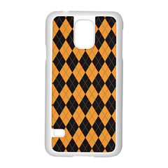 Plaid Triangle Line Wave Chevron Yellow Red Blue Orange Black Beauty Argyle Samsung Galaxy S5 Case (white) by Alisyart