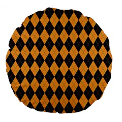 Plaid Triangle Line Wave Chevron Yellow Red Blue Orange Black Beauty Argyle Large 18  Premium Flano Round Cushions by Alisyart