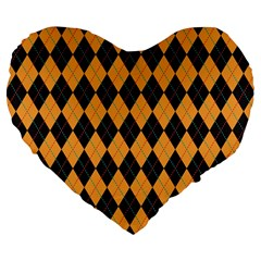 Plaid Triangle Line Wave Chevron Yellow Red Blue Orange Black Beauty Argyle Large 19  Premium Flano Heart Shape Cushions by Alisyart