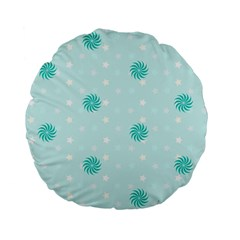 Star White Fan Blue Standard 15  Premium Flano Round Cushions by Alisyart