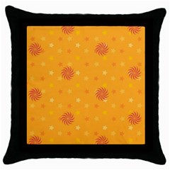Star White Fan Orange Gold Throw Pillow Case (black) by Alisyart