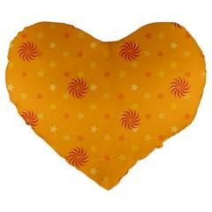 Star White Fan Orange Gold Large 19  Premium Flano Heart Shape Cushions by Alisyart