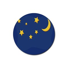 Starry Star Night Moon Blue Sky Light Yellow Rubber Coaster (round)  by Alisyart