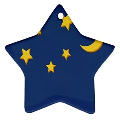 Starry Star Night Moon Blue Sky Light Yellow Star Ornament (two Sides) by Alisyart