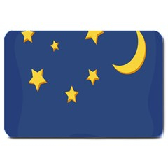 Starry Star Night Moon Blue Sky Light Yellow Large Doormat  by Alisyart