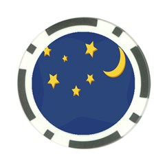 Starry Star Night Moon Blue Sky Light Yellow Poker Chip Card Guard by Alisyart