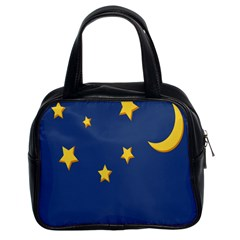 Starry Star Night Moon Blue Sky Light Yellow Classic Handbags (2 Sides) by Alisyart