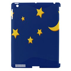Starry Star Night Moon Blue Sky Light Yellow Apple Ipad 3/4 Hardshell Case (compatible With Smart Cover) by Alisyart