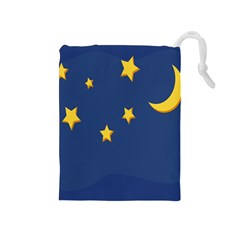 Starry Star Night Moon Blue Sky Light Yellow Drawstring Pouches (medium)  by Alisyart