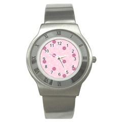 Star White Fan Pink Stainless Steel Watch by Alisyart
