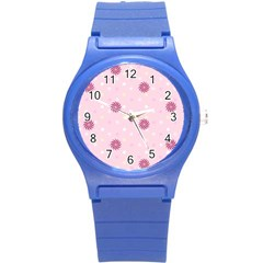 Star White Fan Pink Round Plastic Sport Watch (s) by Alisyart
