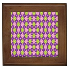 Plaid Triangle Line Wave Chevron Green Purple Grey Beauty Argyle Framed Tiles by Alisyart