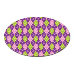 Plaid Triangle Line Wave Chevron Green Purple Grey Beauty Argyle Oval Magnet by Alisyart