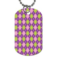 Plaid Triangle Line Wave Chevron Green Purple Grey Beauty Argyle Dog Tag (one Side) by Alisyart