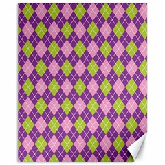 Plaid Triangle Line Wave Chevron Green Purple Grey Beauty Argyle Canvas 11  X 14   by Alisyart
