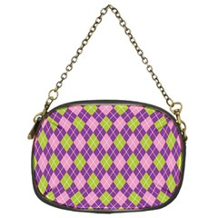 Plaid Triangle Line Wave Chevron Green Purple Grey Beauty Argyle Chain Purses (two Sides)  by Alisyart