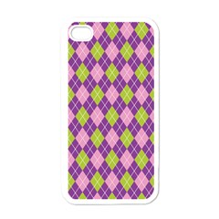 Plaid Triangle Line Wave Chevron Green Purple Grey Beauty Argyle Apple Iphone 4 Case (white) by Alisyart