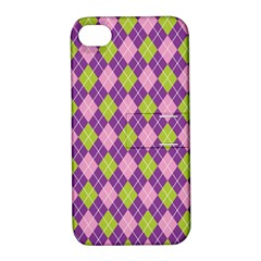 Plaid Triangle Line Wave Chevron Green Purple Grey Beauty Argyle Apple Iphone 4/4s Hardshell Case With Stand by Alisyart